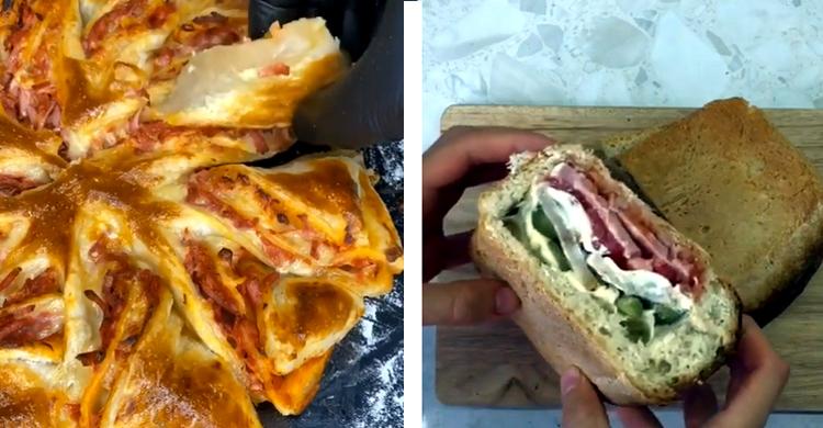 Завтрак с TikTok быстрая вкусняшка и сэндвич из буханки